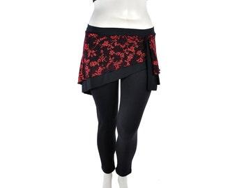 Slanted Mini Skirt - Black with Red Glitter - Belly Dance
