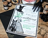 Halloween Invitation DIGITAL PRINTABLE DOWNLOAD Witches Black Cat