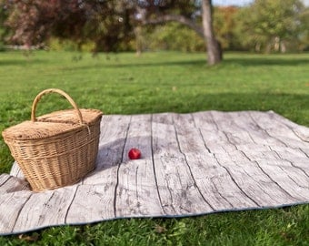 Picnic Blanket- As SEEN on USA Today Network- XL Roll Up Blanket, Gray Woodgrain, Modern, Unisex