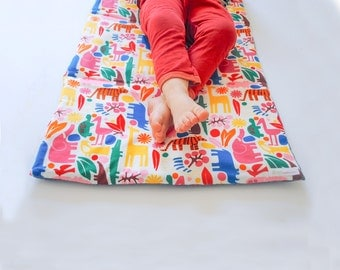 Animals Nap Mat with Organic Denim- Non-Toxic Toddler Napmat in Rainbow Zoo- Preschool Napmat (Ready to Ship)