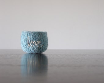 "tweed blue felt wool bowl with off white ""love"" embroidery  - felted wool bowls by the Felterie  - ring bowl"