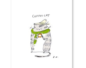 Coffee Cat Print-Cute Cat Art- Kitchen Art- Hipster Cat