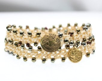 Sun Crochet Wrap Bracelet Necklace, Metallic TOHO  Beads