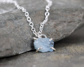 Aquamarine Necklace - Raw Aquamarine Pendant - Sterling Silver - March Birthstone - Raw Blue Gemstone Jewellery - Made in Canada