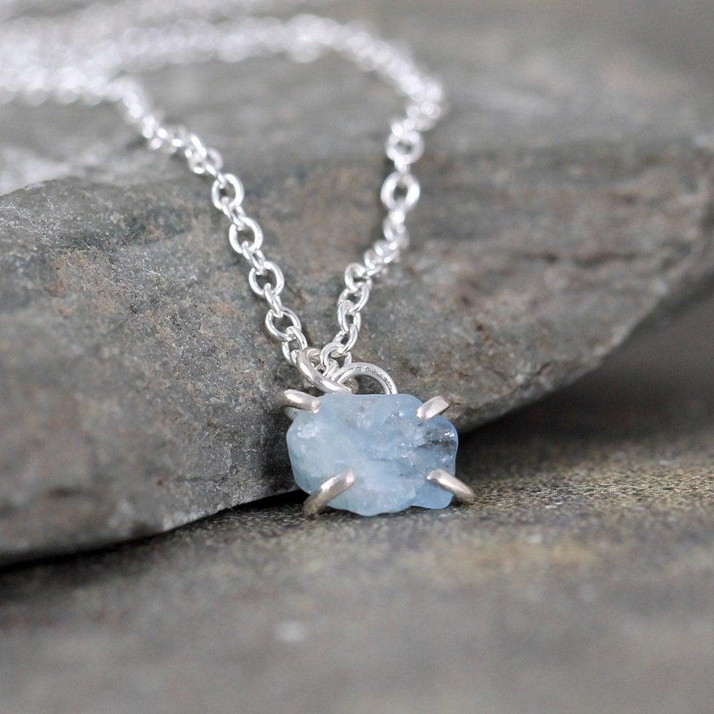 Aquamarine Necklaces: Aquamarine Necklace Raw Aquamarine Pendant Sterling Silver