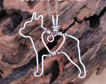Boston Terrier Dog Necklace, Custom Dog Necklace, Sterling Silver Dog, Dog Outline, Wire Jewelry