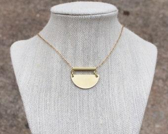 Crescent Necklace, Brass, Minimalist, Bar