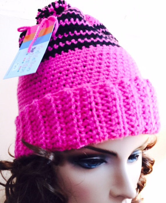 Pom Hat in Hot Pink and Black