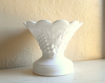 Large Beautiful Milk Glass Vase Pedestal Bowl with Scalloped Edge
