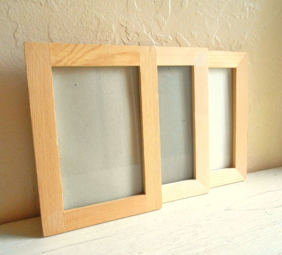 3 unfinished wood wooden picture frames with glass 4x6 craft