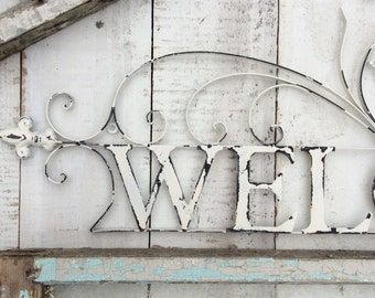 Metal Welcome Sign, Shabby Chic White, Garden Sign, Rustic Home Decor, Home and Garden, Above Door Decor