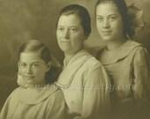 Antique Mother & Daughter  Portrait, 1900s Woman and Children Family Photo Instant Ancestors