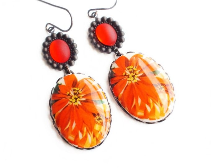 Poinsettia Earrings Christmas Earrings Holiday Jewelry Red Orange Floral Earrings Retro Christmas Poinsettia