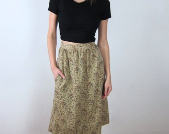 Tan Floral High Waisted 70's Skirt