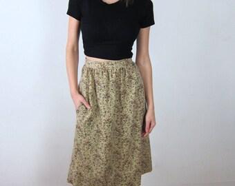 Tan Floral High Waisted 70's Skirt