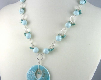 Apatite and Faux Larimar Necklace, mixed media and gemstone beads with silver-plated chain, Water Element jewelry