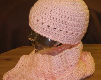 Hat Scarf Set Cotton Candy Pink Crochet