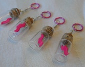 Pink Mustache Knitting stitch markers in Tiny Glass Vials with corks, set of 4