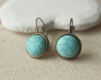 Turquoise dangle Earrings, Turquoise Earrings, PIERCED or CLIP Turquoise Jewelry, antiqued brass leverback earrings, nickel free