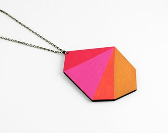 Geometric polygon wooden necklace - mustard, orange, pink, red - minimalist, modern statement necklace