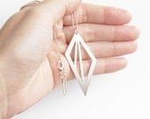 Sterling Silver Geometric Triangle Cut Out Necklace - Geometric Pendant Necklace - Sterling Ball Chain