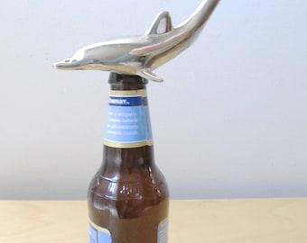 bottle nose dolphin bottle opener silver plate porpoise mid century bar tool