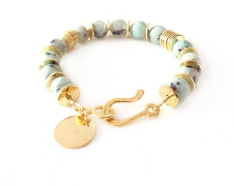 Gold Gemstone Bracelet - Personalized Monogram Initials Tag - Sesame Jasper - Mint Green, Black - The Stoned: 10mm Round Heishi