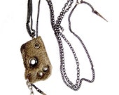 leather necklace, raw, primitive, edgy, post apocalyptic, dark, edgy : Renegade Icon Designs