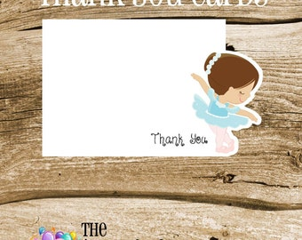 Ballet Friends Party - Set of 8 Ballerina Girl in Aqua Thank You Notecards by The Birthday House