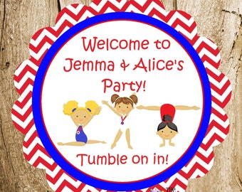 USA Gymnastics Girls Party - Custom Gymnastic Party Sign by The Birthday House