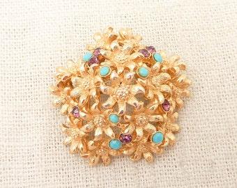 SALE --- Vintage Goldtone Dimensional Flower Dome Purple and Blue Gem Bush Brooch