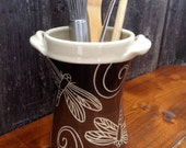 Handmade Dragonfly Utensil Holder / Brown, Black and Cream