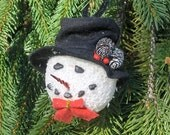 Holiday Snowman Ornament, black hat with pine cones, Christmas Tree Ornament, Frosty the Snowman