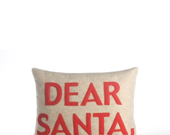 "Throw Pillow, Decorative Pillow, 'Dear Santa,"" pillow, 10X14 inch, Holiday Pillow"