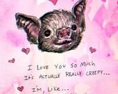 Creeper Bat Valentine Print - 5x7