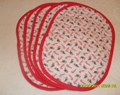 Christmas 2016  - Set of Five Candy Cane and Bow Placemats