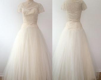 1950s wedding dress / vintage wedding dress / Karinska Tulle & Lace wedding dress