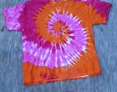 Juicy Fruit Red Orange and Pink Spiral Tie Dye T-Shirt (Jerzees Size XL) (One of a Kind)