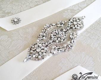 Silver Sash Rhinestone Belt Rhinestone Sash Bridal Sash Bridal Belt Sash Crystal Sash
