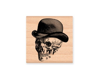 HALLOWEEN Rubber Stamp~Skeleton Man and Women~Skulls with fancy hats~Two stamp styles~Wood Mounted Stamp (48-10 lady)(48-11 man)