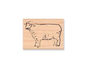 SHEEP RUBBER STAMP lamb ewe farm animal wool wooly country decor Art Craft Stamp Mountainside Crafts Wood Mounted Rubber Stamp (31-10)