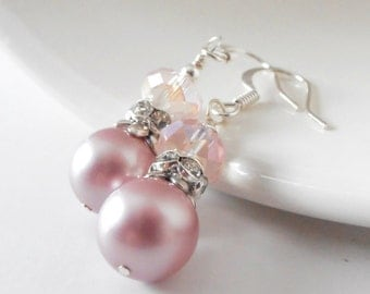 Pink Pearl Earrings Swarovski Pearl Dangles Tea Rose Bridesmaid Sets Beaded Jewelry  Wedding Party Accessories Muted Pink Bridesmaid Earring
