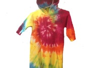 Tie Dyed, Sunshine Rainbow Spiral,  Hooded  Baby Bunting  With Ears