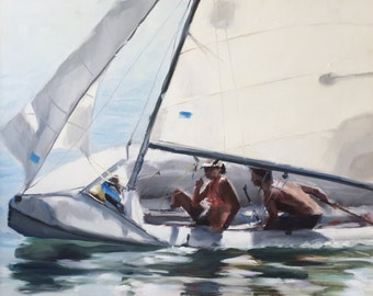 Couple Sailing, Sailboats, White Sails, Blue Water Racing, Race, North Carolina Original Oil Painting by Clair Hartmann