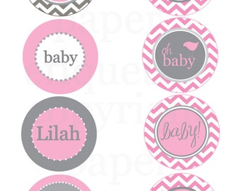 Gray and Pink Chevron Birdie Cupcake Toppers, Tags or Stickers - Print Your Own