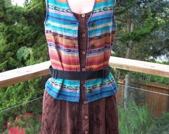 Boho Vest, Cotton vest, Soutwestern vest, colorful vest, size S / M