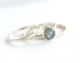 Plumeria - Black Moonstone and Sterling Silver Ring Brushed Matte Textured Eclipse