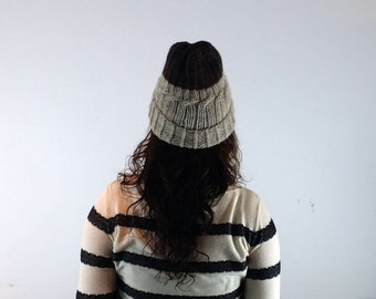 brown and taupe hand knitted hat slouchy beanie mens womens Winter Accessories