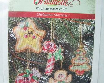 Annie's Attic Christmas Ornament Kit, Christmas Sweeties, Cross Stitch on Plastic Canvas Candy Cane, Tree, Star Holiday Decor, Craft Destash