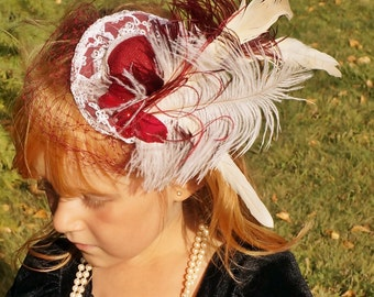 Burgundy Butterfly Ivory Lace Ostrich Feather Top Hat Fascinator